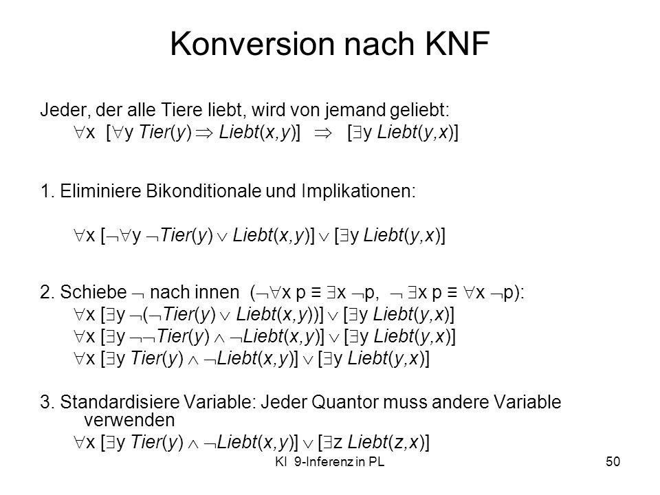 Konversion nach KNF Jeder, der alle Tiere liebt, wird von jemand geliebt: x [y Tier(y)  Liebt(x,y)]  [y Liebt(y,x)]